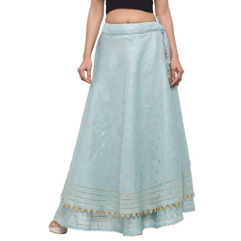 Turquoise printed cotton skirts