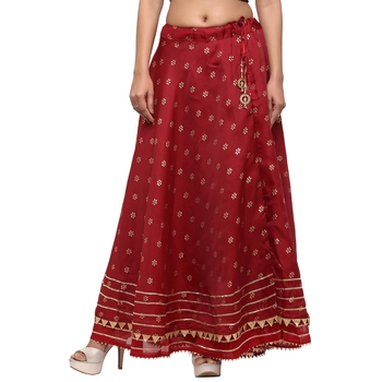 Maroon printed cotton skirts