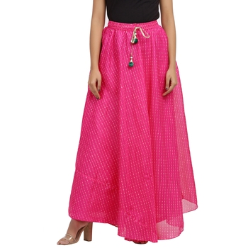 Pink printed cotton skirts