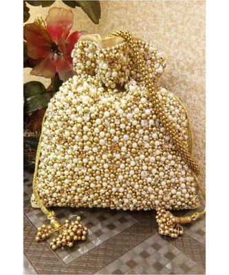 White and gold beads potli bag