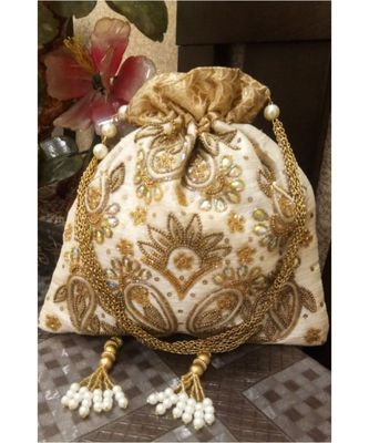White and gold  potli bag