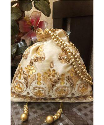 Cream and Gold gota work Potli Bag
