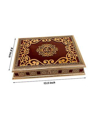Rajwadi Wooden Handmade Decorative 4 Section Dry Fruits Box, Gift Box (OXY_155)