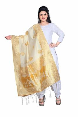 Cream Women's Banarasi silk Dupatta Regular