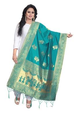 Rama Women's Banarasi silk Dupatta Wedding