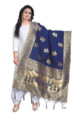 Blue Women's Banarasi silk Dupatta with less