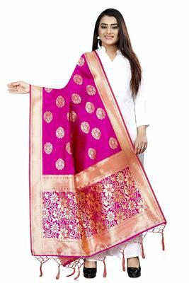 Pink Women's Banarasi Silk Dupatta