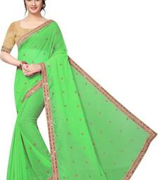 Green  Mirror Work Saree with Blouse