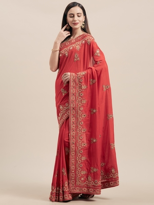Red Coloured Solid Cotton Blended Saree With Blouse Piece