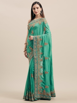 Rama Coloured Solid Cotton Blended Saree With Blouse Piece