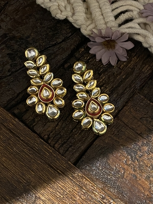 Red Gold Tone Kundan Inspired Earring