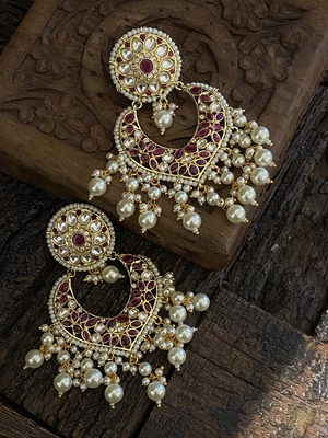 Red Gold Tone Polki Inspired Pearls Chandbaali