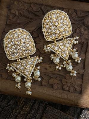 Gold Tone Polki Inspired Earrings