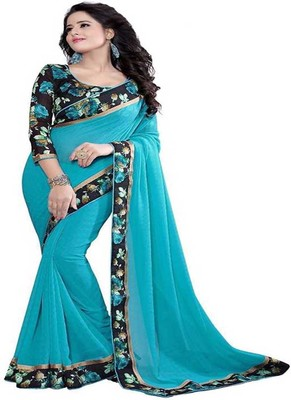 Light blue plain chiffon saree with blouse