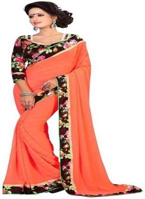 Orange plain chiffon saree with blouse