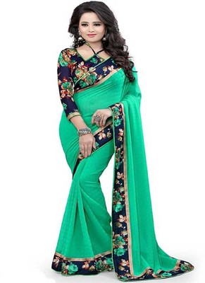Light green plain chiffon saree with blouse