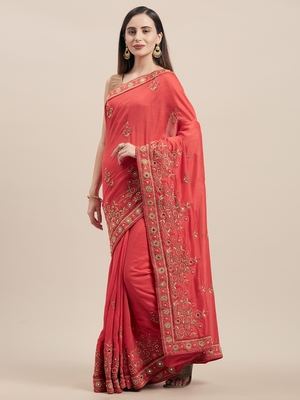 Pink Coloured Solid Cotton Blended Saree With Blouse Piece