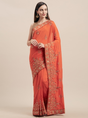Orange Coloured Solid Cotton Blended Saree With Blouse Piece