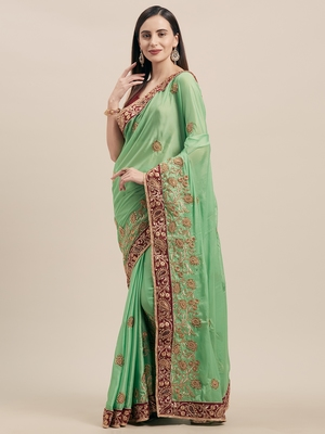 Green Coloured Solid Cotton Silk Saree With Blouse Piece