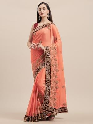 Orange Coloured Solid Cotton Silk Saree With Blouse Piece
