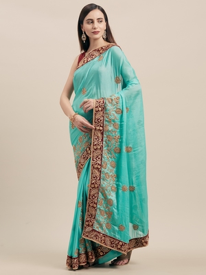 Firoza Coloured Solid Cotton Silk Saree With Blouse Piece