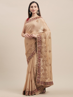 Beige Coloured Solid Cotton Silk Saree With Blouse Piece