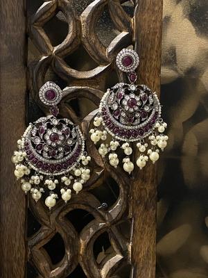 Pink Silver Tone Victorian Chandbaali Earrings