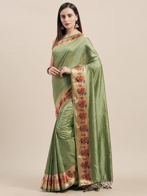 Mehendi Digital Printed Colored Sana Silk Saree With Blouse Piece