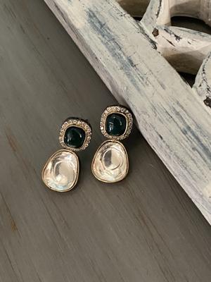 Green Silver Tone Polki Inspired Earrings