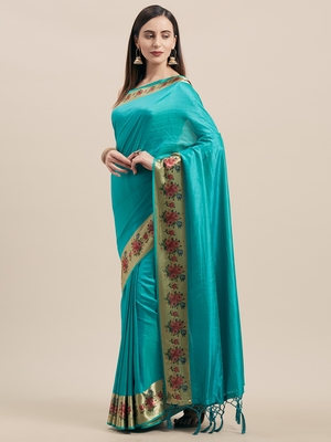 Rama Digital Printed Colored Sana Silk Saree With Blouse Piece