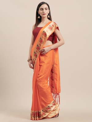 Orange Digital Printed Colored Sana Silk Saree With Blouse Piece