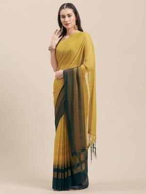 Mehendi & Green & Rani Coloured Chiffon saree with Blouse Saree.