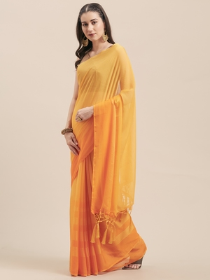 Yellow Coloured Chiffon saree with Blouse Saree.