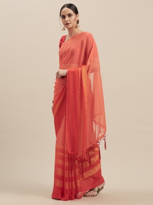 Peach Coloured Chiffon saree with Blouse Saree.