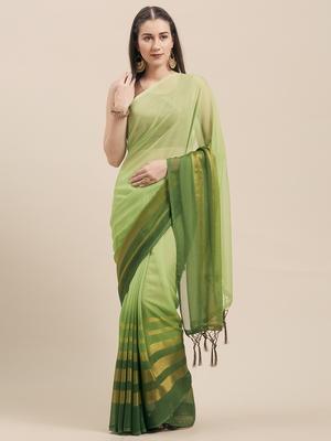 Green Coloured Chiffon saree with Blouse Saree.
