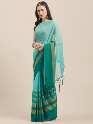Rama Coloured Chiffon saree with Blouse Saree.