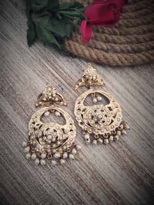 White Gold Plated Jadau Earrings