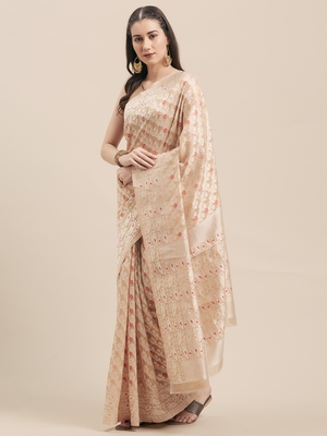 Beige Coloured Solid Cotton Mint Saree With Blouse Piece