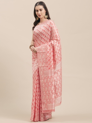 Pink Coloured Solid Cotton Mint Saree With Blouse Piece
