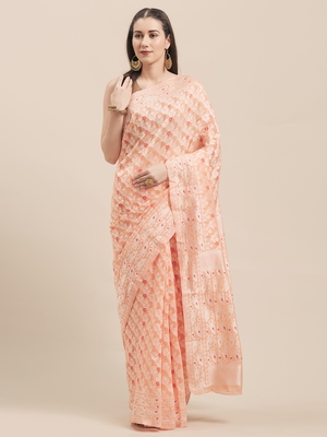 Orange Coloured Solid Cotton Mint Saree With Blouse Piece