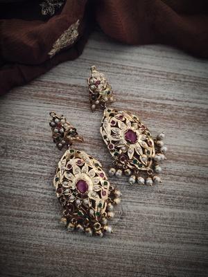 Multicoloured Gold Plated Jadau Earrings