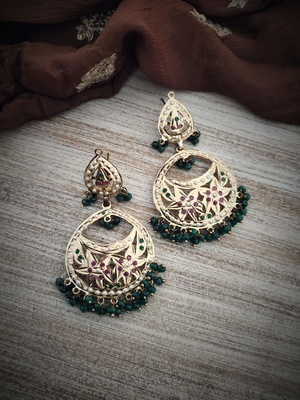 Green Gold Plated Jadau Earrings