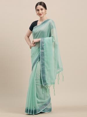 Rama Coloured Solid Cotton Silk Saree With Blouse Piece