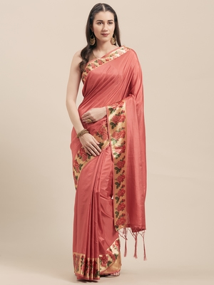 peach Coloured Solid Cotton Silk Saree With Blouse Piece