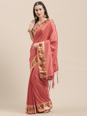 Magenta Coloured Solid Cotton Silk Saree With Blouse Piece