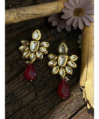 Red Gold Tone Kundan Inspired Earring