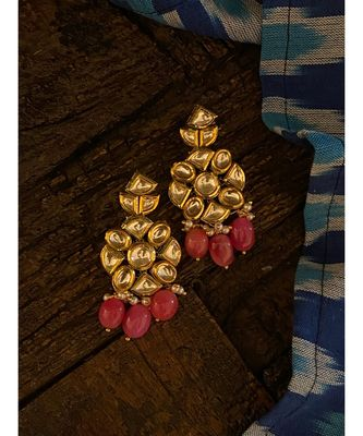 Pink Gold Tone Kundan Inspired Earring