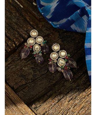 Purple Silver Tone Victorian Earrings