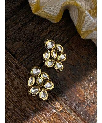 Gold Tone Kundan Inspired Studs Earring