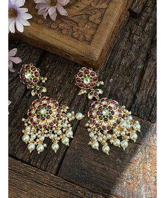 Red-Green Gold Tone Polki Inspired Earrings